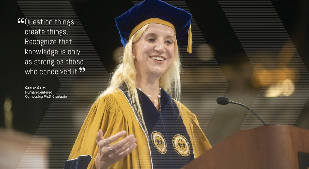 Caitlyn Seim speaks at graduation